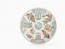 Plate with Historical Figures and Calligraphy, 20th C.