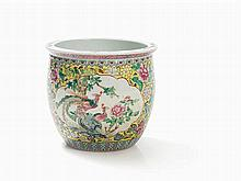 Famille Rose Jardinière with Birds and Flowers, 20th C.