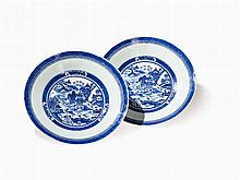 Pair of Blue & White Porcelain Dishes with Landscapes, 19th C.