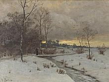 Heinrich Gogarten (1850-1911), Painting, Winter Evening, 1883