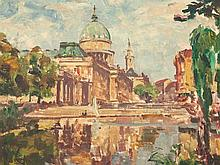 Ulrich Hübner, Oil Painting, The City Palace in Potsdam c. 1920