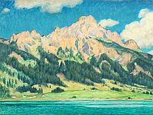 Ernst Eitner (1867-1955), Oil Painting, Mountain View, 1928