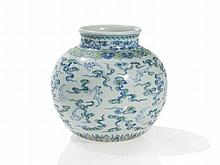 Richly decorated, Round Porcelain Vase, Yongzheng Mark