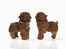 Pair of Fo Lions, Carved from Bamboo Root, China, Qing