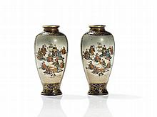 Kinkozan Satsuma Earthenware Miniature Vases, Japan, Meiji