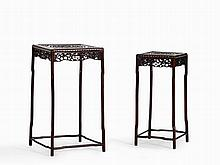 Two Carved Side Tables with Mother of Pearl Inlays, China, Qing