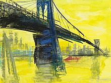 "Rainer Fetting (b. 1949), Mixed Media, ""Brooklyn Bridge"