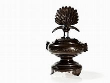 Shi Sou Bronze Incense Burner with Silver Inlays, China, Qing