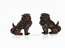 Pair of Cast Iron Fo Guardian Lions, presumably China, Qing