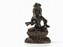 Guanyin Bronze Figure with a Closed Lotus Flower, China, 19th C
