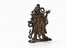 Rich Detailed Bronze Figure of the Warrior God Guang Yu, Ming
