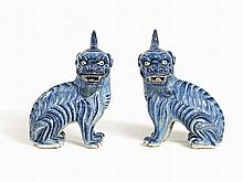 Pair of Blue and White Porcelain Qilin, China, 19th C