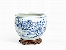Large Blue & White Porcelain Bowl with Landscape, Transitional