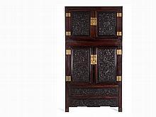 Rare Hongmu Wood Dragon Cabinet, China, Qing