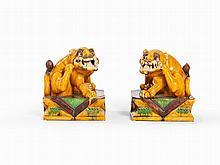 Pair of Sancai Glazed Fo Dog Figures, China, Qing Dynasty