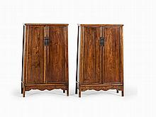 Pair of Large Huanghuali Cabinets, China, 17th C