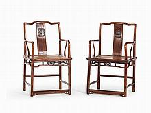 Pair of Huanghuali 'Official's Hat' Armchairs, 18th C