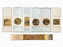Set with 7 Scrolls Painting of Different Artists, 20th century