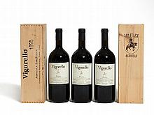 3 magnum bottles 1995 Vigorello, 2 original wooden cases
