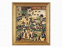 Herbert Gurschner (1901-1975), Market Day, Oil, c. 1950s