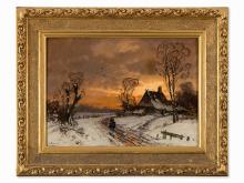 Selmer, Oil Painting, Winter Landscape, Germany, c. 1900