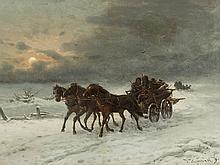 Joseph Heydendahl, Winterly Coach Ride, Oil, late 19th C.