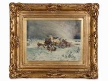Landscape with Sleigh, Oil Painting, pres. 2nd half 19th C.