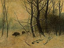 Eduard Steinbach, Boars, Oil Painting, 19th Century