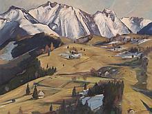 """Igo Pötsch attributed, Oil Painting """"Alpine Pass"""", around 1930"""