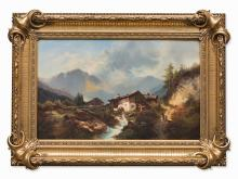 Oil Painting, Mountain Landscape with Water Mill, 1881