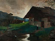 "Theodor Heyser (1857-1921), Village landscape"", Oil, 1898"