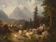 """Alpine Landscape with Sheep Flock"", probably Tyrol, 19th C"