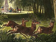 Coloured Lithography 'Hunting Scene' by A.F. Girard, 19th C