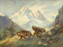 H. W. Baker, Mountain Panorama with Bear Family, c. 1920