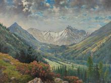 """Rudolf Franz Ullmann, Oil Painting """"Alpine Landscape"""""""