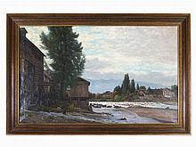 Joseph Rerolle, Oil Painting, Bridge with Mil Wheel, c. 1890