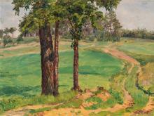 František Kaván, Landscape with Path, Oil, around 1920