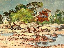 "Oil Painting, ""Coast of Jersey"", Richard Sprick, Germany 20th C"