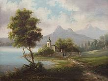 Leopold Munsch, Painting, Church at the Lake, Austria, 1878
