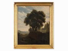 Arcadian Landscape, Oil Painting, Roman School, 19th C.