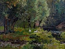 Wilhelm Eggers, River Valley Landscape, Oil Painting, 1888