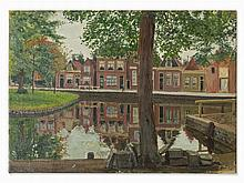Hans Michaelson (1872-1954), Houses by Canal, Oil, c. 1890/1900
