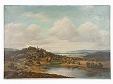 Hans Dürr, Landscape with Church, Oil Painting, c. 1980