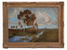 Wilhelm Reeh, Oil Painting, 'Herbst im Moor', Germany, c. 1910
