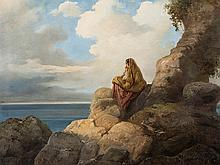 Vincenzo Cabianca, Country Girl on Rocks, Oil, presumably 1856