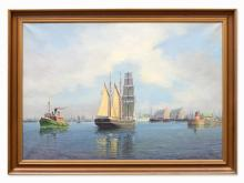 Oil Painting, Harbor View with Sailing Ship, c. 1910