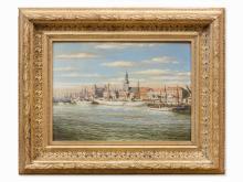 Oil Painting, Cityscape of Riga, Latvia, c. 1910