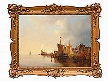Ludwig Hermann, Attributed to, Harbor Scene, Germany, c. 1870