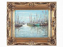 Eduardo Dante Induni, Oil Painting, Harbor, around 1950/60