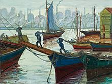Osvaldo Imperiale, Cargando Barcos, Oil Painting, c. 1950/60